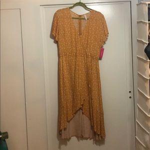 Mustard floral print hi low dress